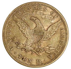 1896 $10 MS reverse