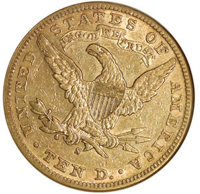 1897 S $10 MS reverse