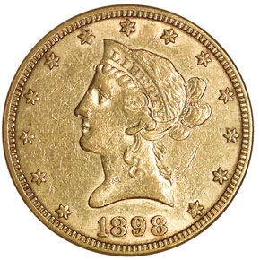 1898 S $10 MS obverse