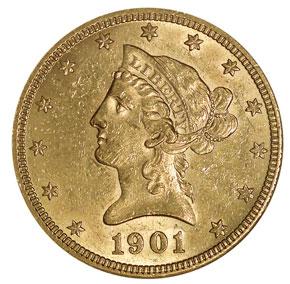 1901 O $10 MS obverse