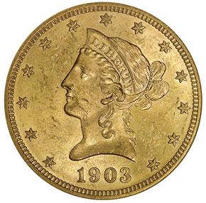 1903 $10 MS obverse