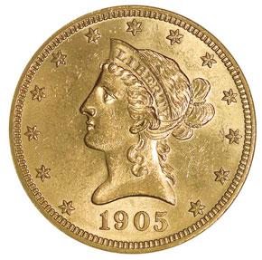 1905 $10 MS obverse