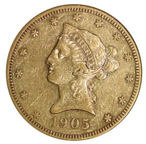 1905 S $10 MS obverse