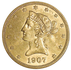 1907 LIBERTY $10 MS obverse