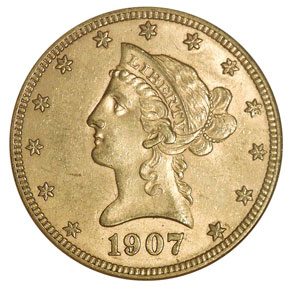 1907 D $10 MS obverse