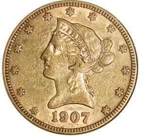 1907 S $10 MS obverse