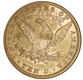 1907 S $10 MS reverse
