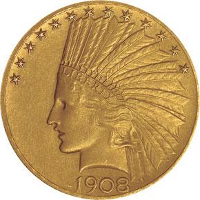 1908 MOTTO $10 PF obverse