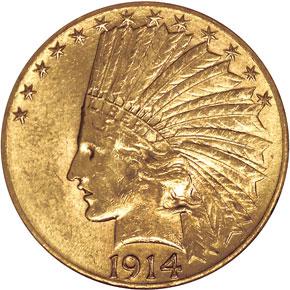 1914 D $10 MS obverse