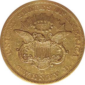 1853 O $20 MS reverse