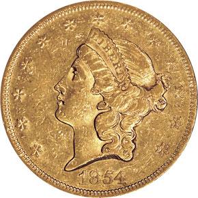 1854 $20 MS obverse