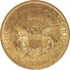 1854 $20 MS reverse