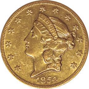 1854 O $20 MS obverse