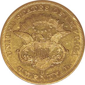 1854 O $20 MS reverse