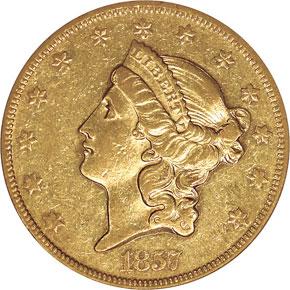 1857 O $20 MS obverse