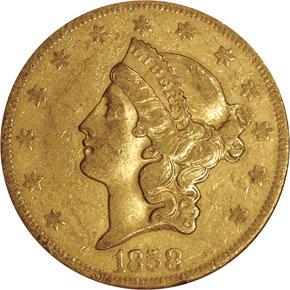 1858 O $20 MS obverse