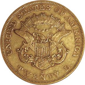 1859 O $20 MS reverse