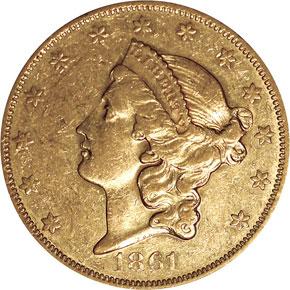 1861 O $20 MS obverse