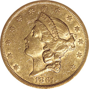 1861 S PAQUET $20 MS obverse