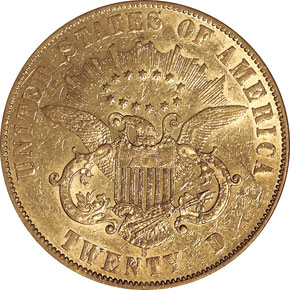 1861 S PAQUET $20 MS reverse