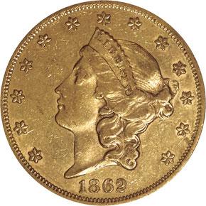 1862 $20 MS obverse