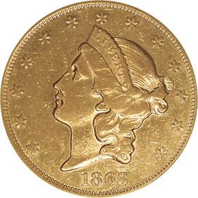 1863 $20 MS obverse