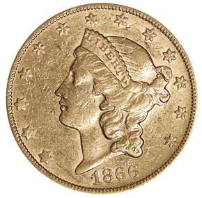 1866 S NO MOTTO $20 MS obverse