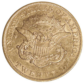 1866 S NO MOTTO $20 MS reverse