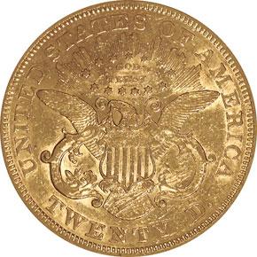 1869 S $20 MS reverse
