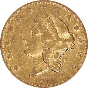 1871 $20 MS obverse