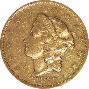 1871 CC $20 MS obverse