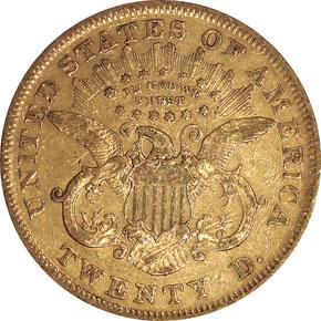 1872 $20 MS reverse
