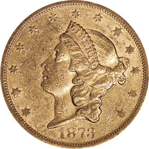 1873 S CLOSED 3 $20 MS obverse