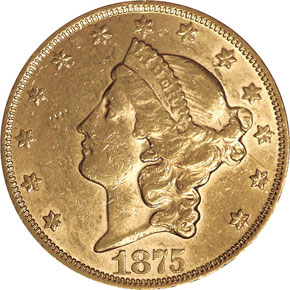 1875 $20 MS obverse