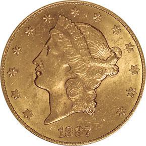 1887 S $20 MS obverse
