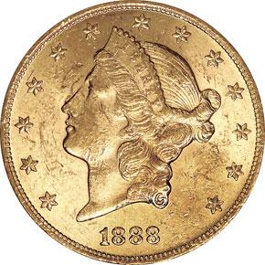 1888 $20 MS obverse