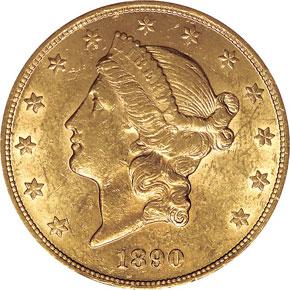 1890 $20 MS obverse