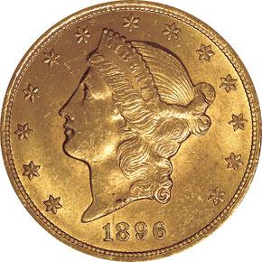 1896 $20 MS obverse