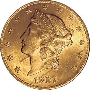 1897 $20 MS obverse