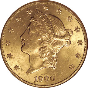 1900 S $20 MS obverse