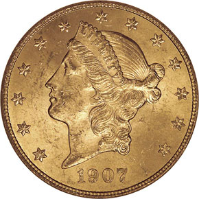 1907 LIBERTY $20 MS obverse