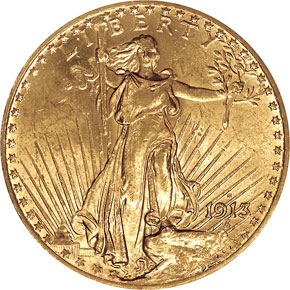 1913 S $20 MS obverse