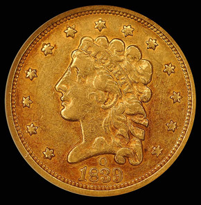 1839 O $2.5 MS obverse