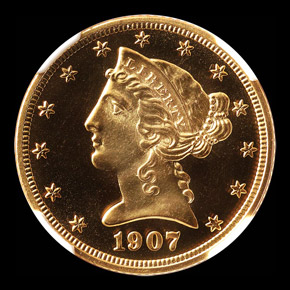 1907 $5 PF obverse
