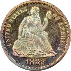 1882 10C PF obverse
