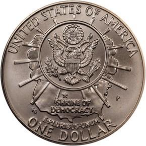 1991 P MOUNT RUSHMORE S$1 MS reverse