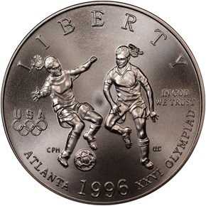 1996 S OLYMPICS SOCCER 50C MS obverse