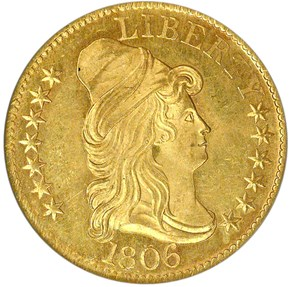 1806 KNOBBED 6 BD-6 $5 MS obverse