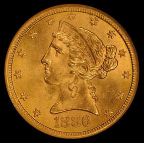 1886 S $5 MS obverse