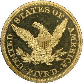 1845 $5 PF reverse